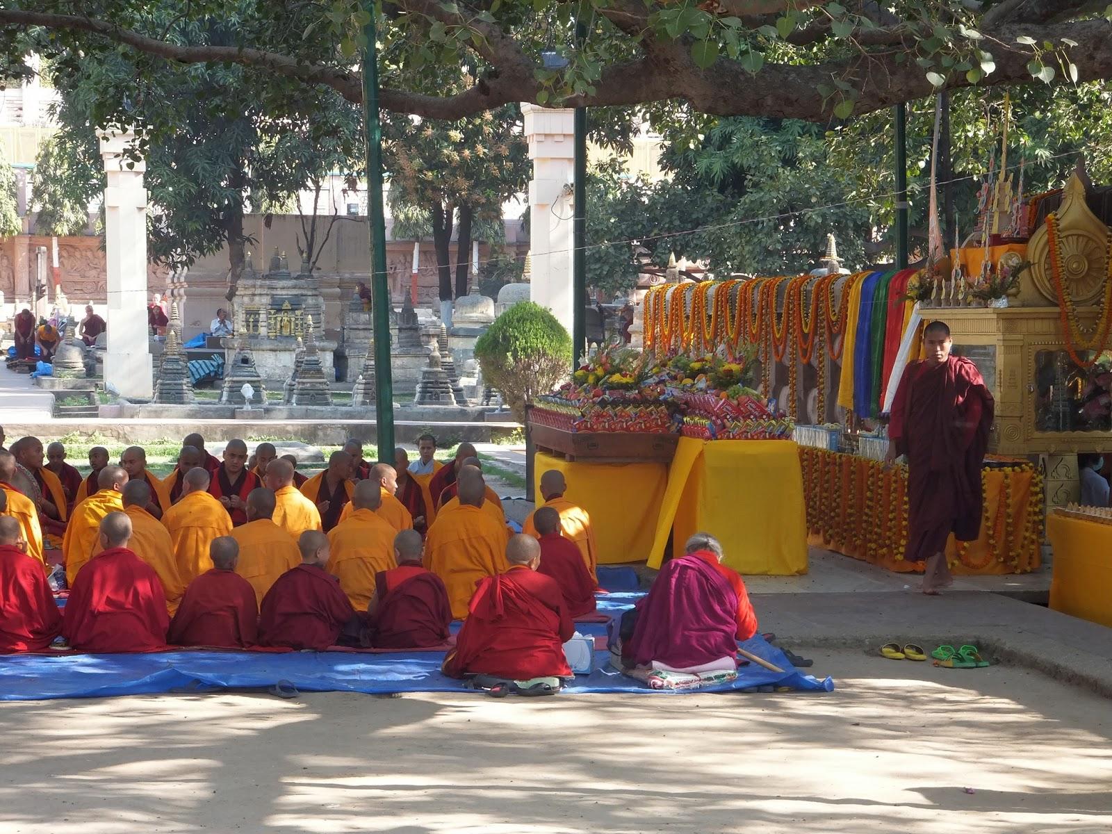 буддистские монахи проводят религиозный обряд