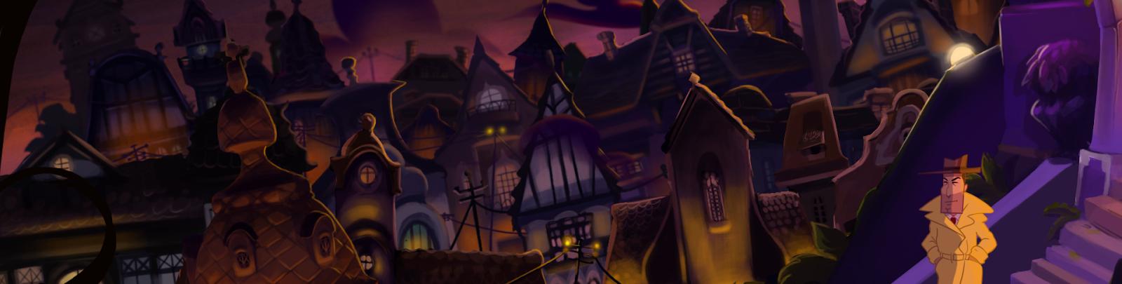 El detective Don R. Ketype con un horizonte lleno de tejados.