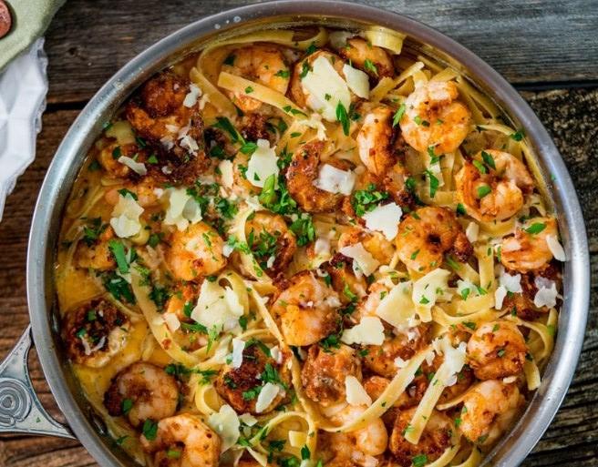 Crispy Cajun Shrimp Fettuccine #seafood #pasta