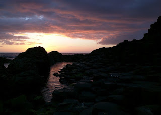 Deep shades of gold, pink, and lavender after sunset, Giant's Causeway, Northern Ireland