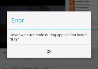 Example of Error 919