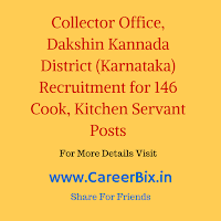 Collector Office, Dakshin Kannada District (Karnataka) Recruitment for 146 Cook, Kitchen Servant Posts