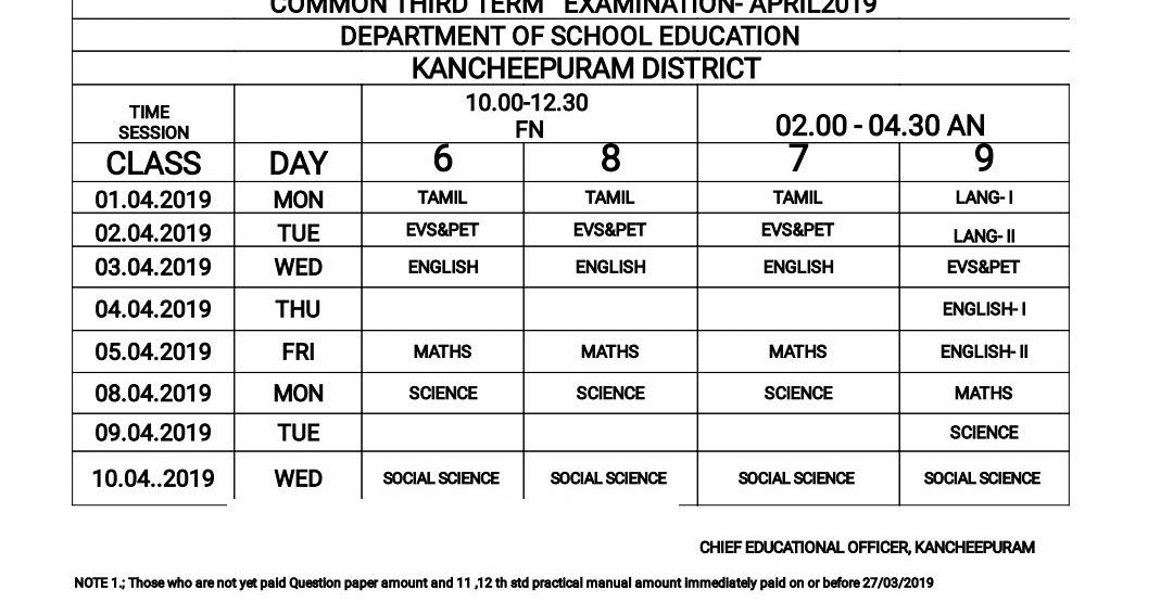 6,7,8,9th Standard - Third Term April 2019 Exam - Time Table