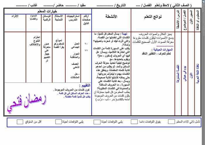 تحضير لغة عربية تانيه ابتدائى ترم أول 2020 - موقع مدرستى