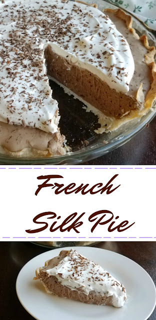 This pie is creamy, luscious, rich and popular every time I make it! Full of chocolaty french silk filling and topped with whipped cream, it is a favorite and so full of memories!