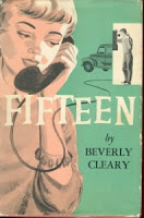 Original cover of Fifteen, gray ink wash girl on phone talking to boy in phone booth with truck in background