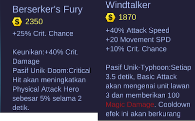 Berserker's Fury and Windtalker Mobile Legends