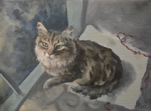 cat painting adam stolterman oil canvas illustration