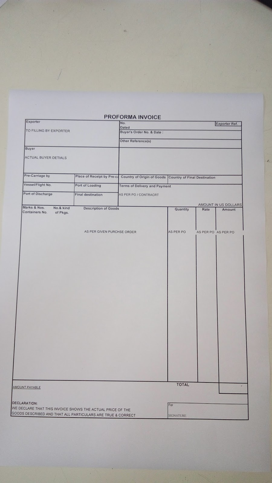 export documentation proforma invoice format and details monday 4 2016