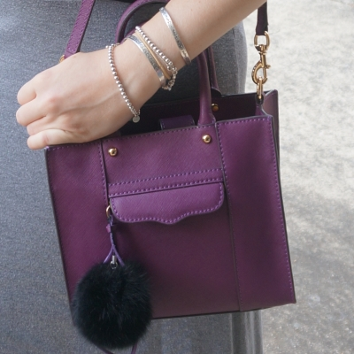 Rebecca Minkoff mini MAB tote in plum, faux fur pom pom charm | Away From The Blue