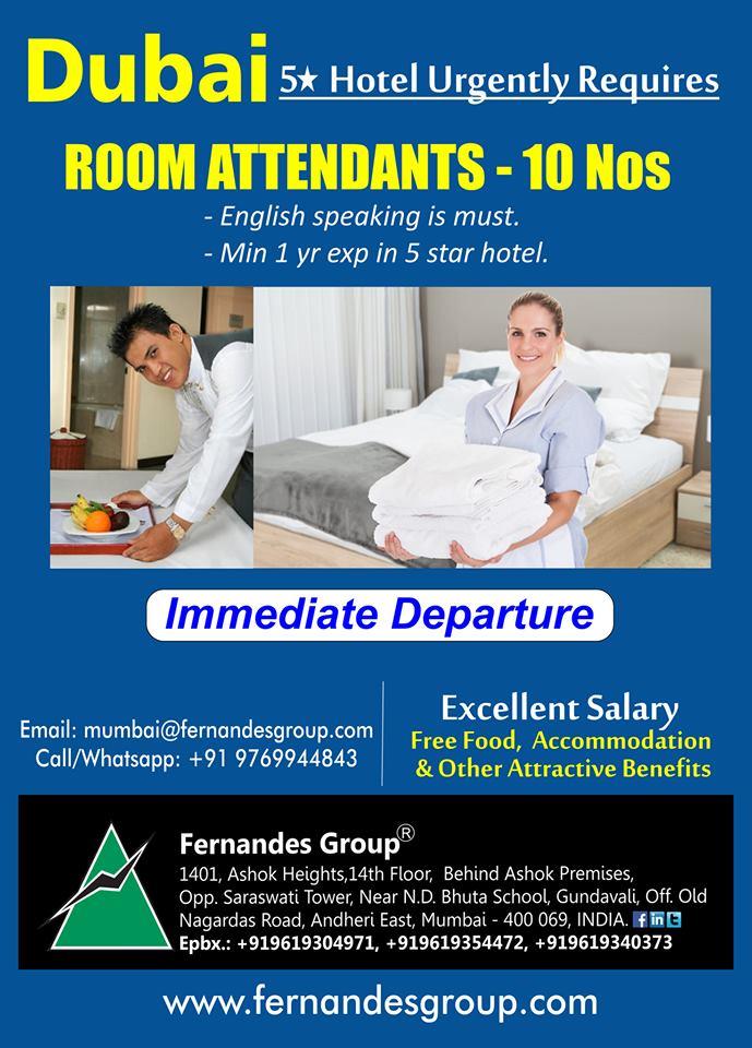Room Attendants Dubai five star hotel Urgently Requires