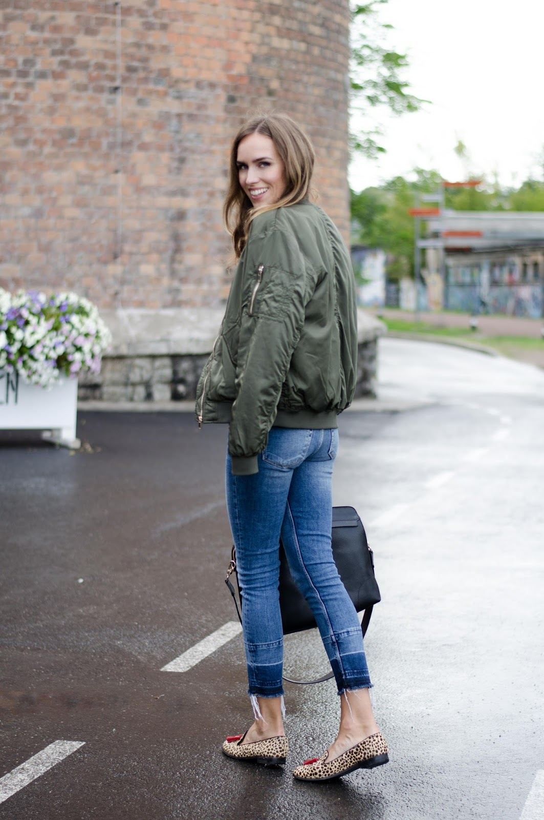 green bomber jacket casual outfit