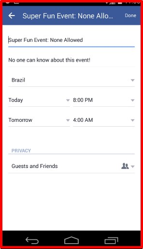 how to create an private event on facebook
