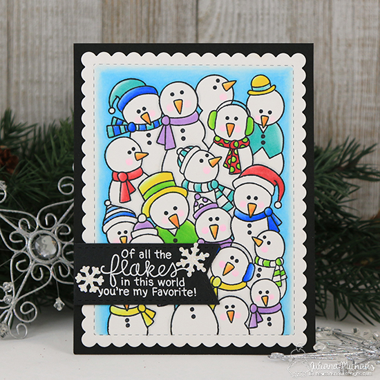 Snowman card by Juliana Michaels | Frozen Fellowship Stamp Set and Frames & Flags Die Set by Newton's Nook Designs #newtonsnook #handmade