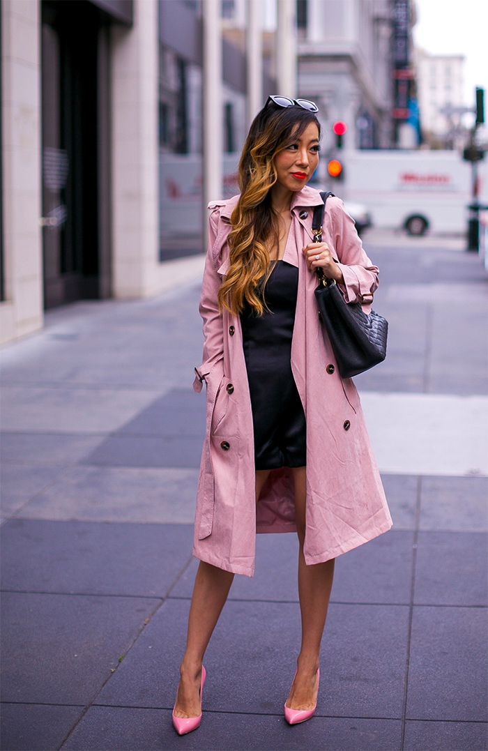 Chicwish pink trench coat, fall essential, baublebar earrings, chanel grand shopping tote, chanel bag, romper, christian louboutin heels, prada sunglasses, how to transition into fall, san francisco style blog, san francisco street style, san francisco union square, fall outfit ideas