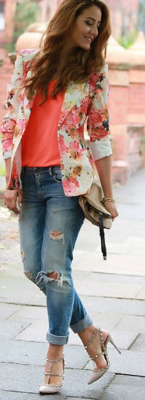 Floral Blazer with Pink T-shirt and Distressed Jeans
