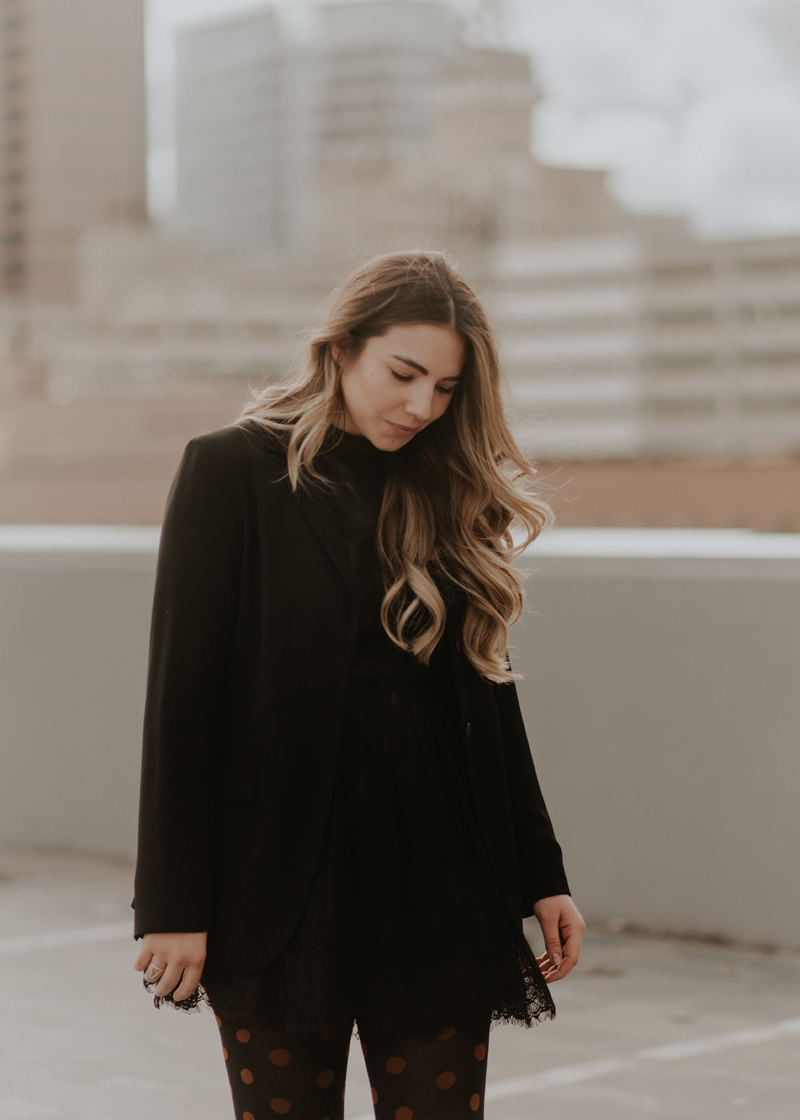 black blazer, balayage brunette, lace dress