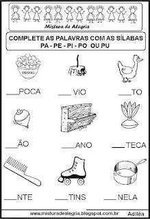 Sequência silábica lacunada letra P
