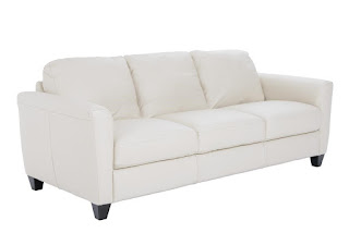 Natuzzi white leather sofa at Baer's Furniture