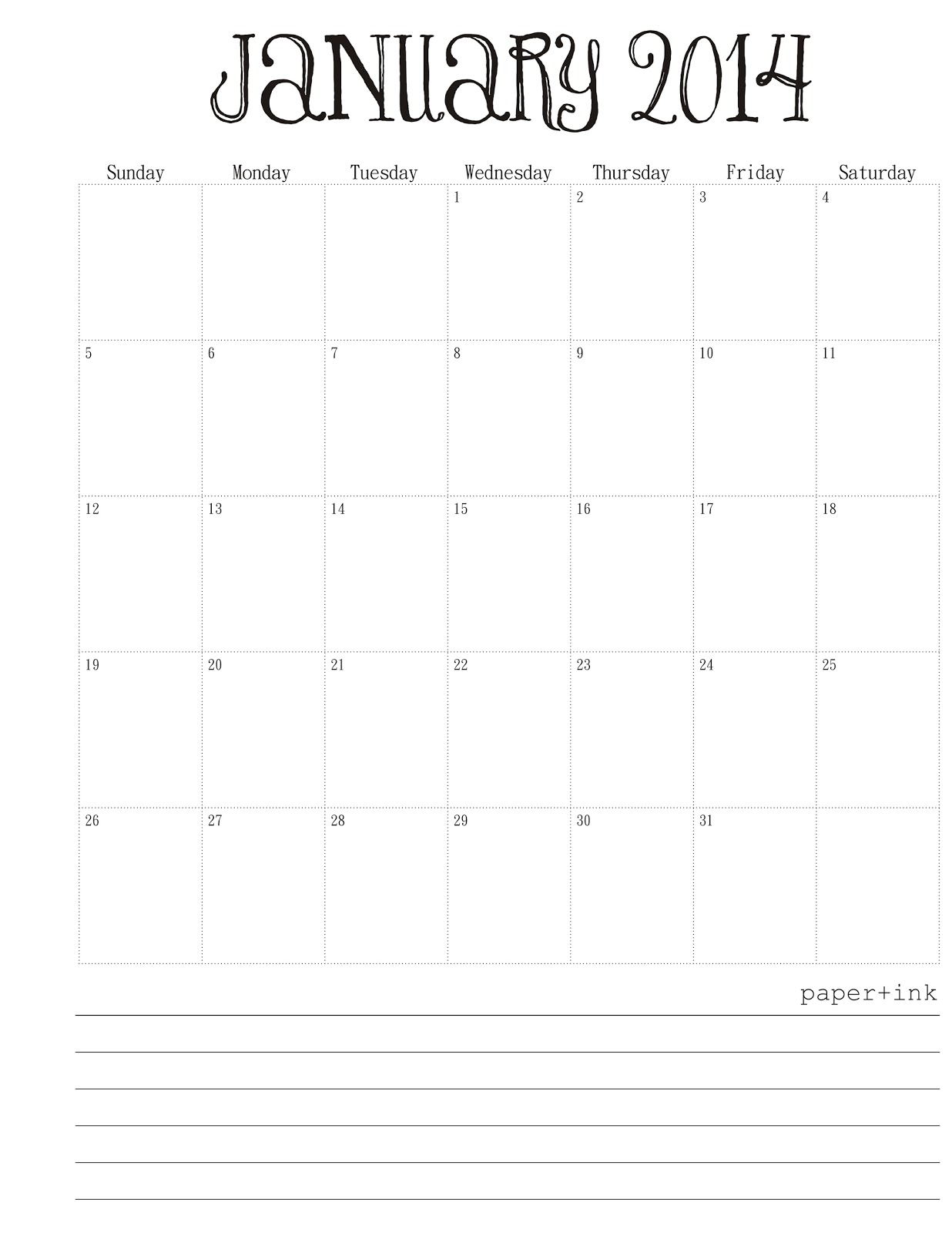 Free Calendar January