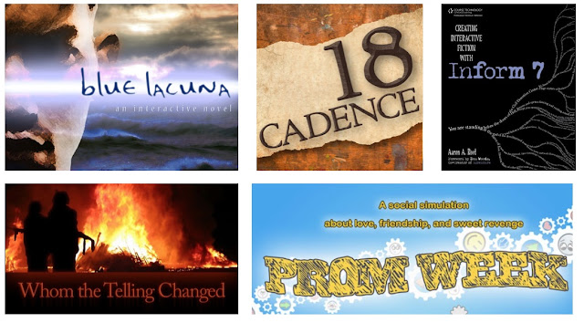 Games by Aaron A. Reed including Blue Lacuna, 18 Cadence, Whom the Telling Changed, and Prom Week