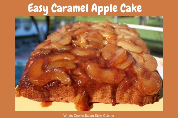 This is a semi homemade caramel apple cake in 13 x 9 sheet cake pan with the sugar and apples ready to bake. The cake has caramel on the bottom made baked in the pan with fresh apple slices and the cake is baked on top of the apple caramel syrup. It is on a plate that the caramel while hot is dripping onto the cake.
