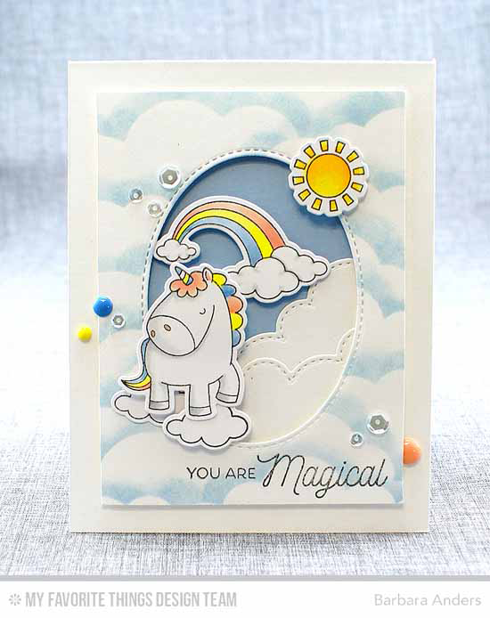 Pretty Unicorn Card by Barbara Anders featuring Birdie Brown Magical Unicorns stamp set and Die-namics, Stitched Cloud Edges and Inside & Out Stitched Oval STAX Die-namics #mftstamps