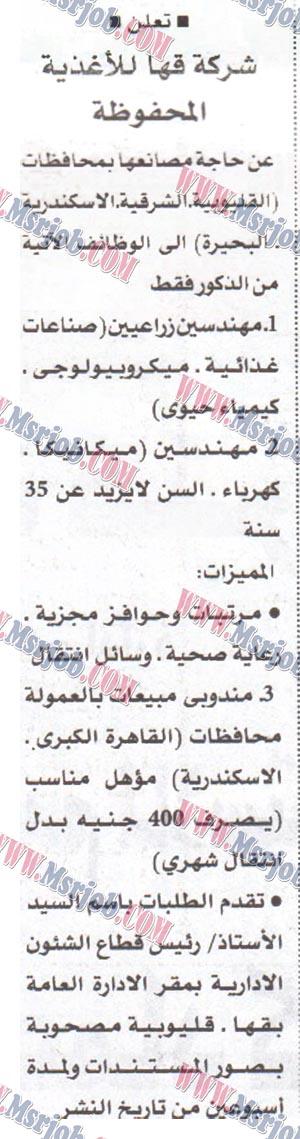 اعلان وظائف شركة قها للاغذية المحفوظة لجميع المؤهلات 23 / 6 / 2017