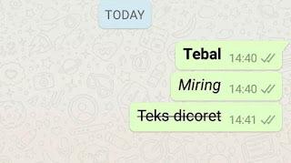 Cara membuat tulisan tebal dan miring atau di coret di WhatsApp