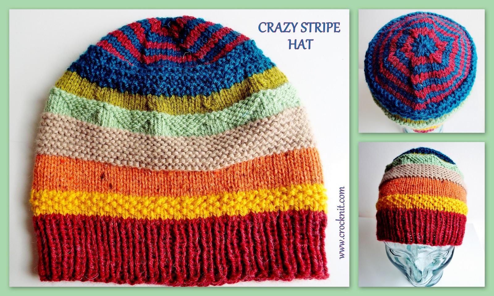 MICROCKNIT CREATIONS: CRAZY STRIPE HAT Free Knit Pattern