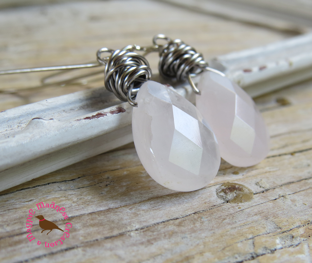 MagpieMadness: Pale Rose Quartz Dangle Earrings, Rose Quartz ...
