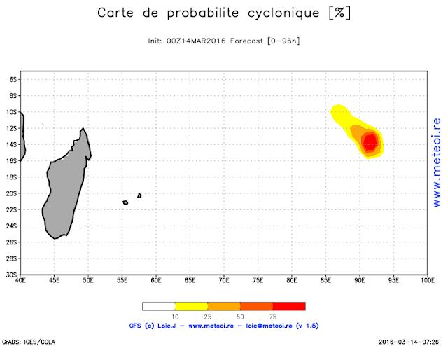 Carte de probabilité cyclonique - Meteoi ©