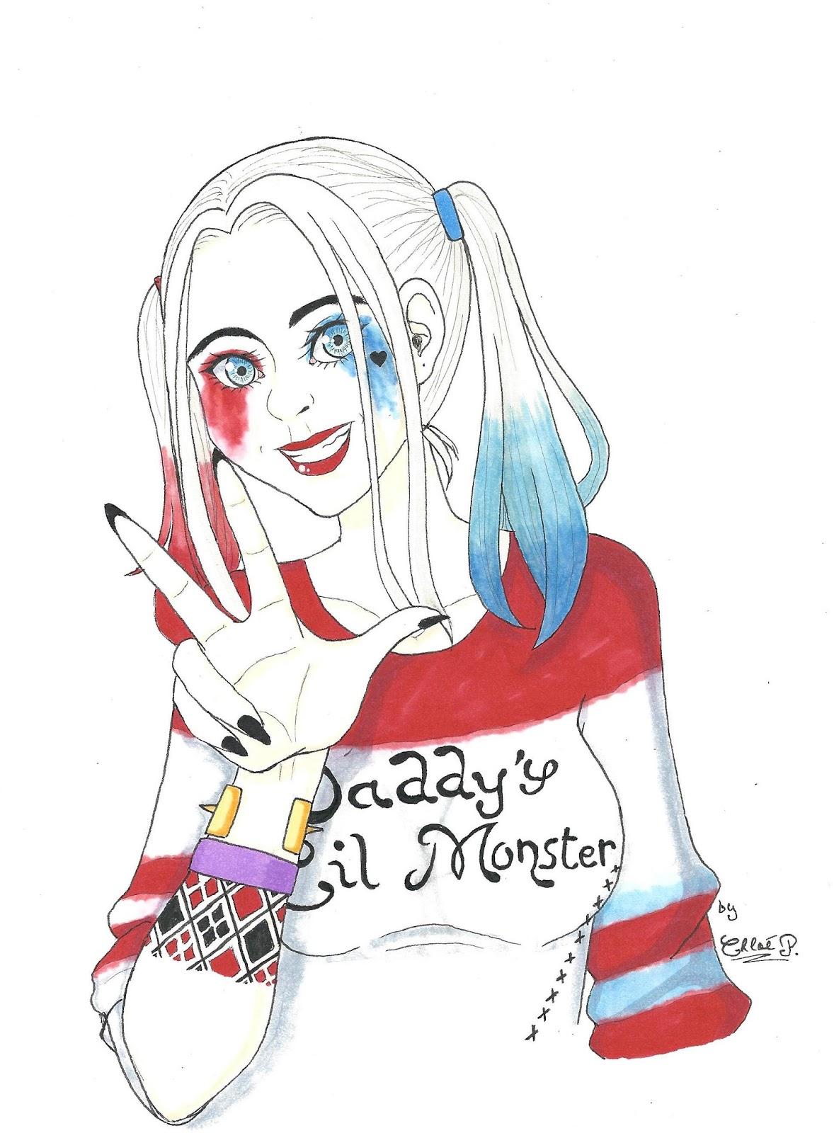 Dessin De Harley Quinn En Noir Et Blanc