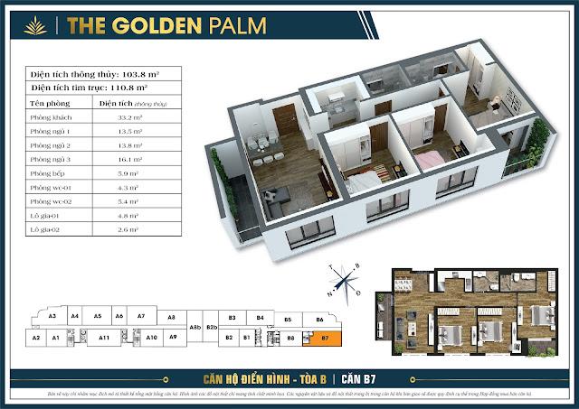 Thiết kế căn B7, 103m, tòa B - The Golden Palm