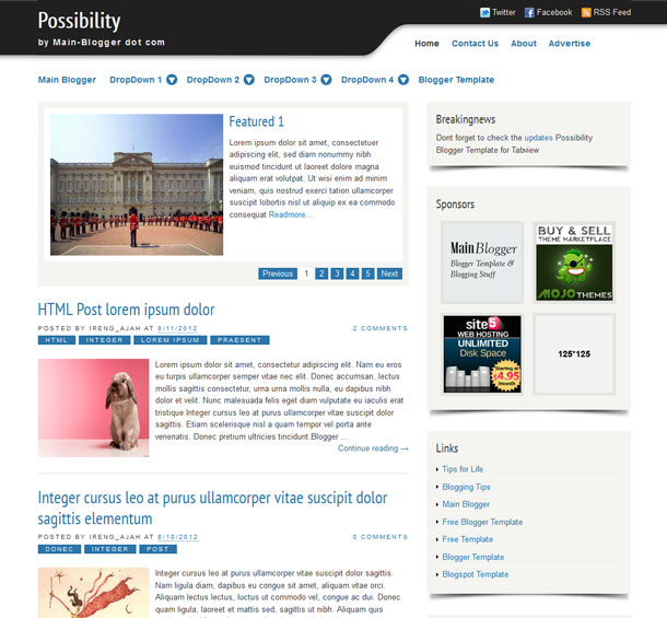 possibility blogger template