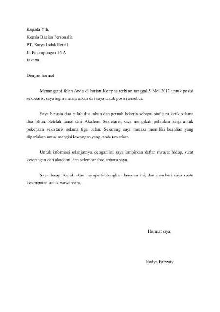 Contoh Surat Lamaran Kerja Sebagai Sekretaris Manajer