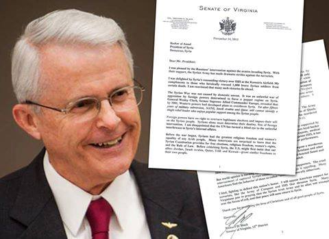 Virginia Senator Richard Black Releases Nov. 14th Letter to Syrian President Bashar al ‪Assad‬