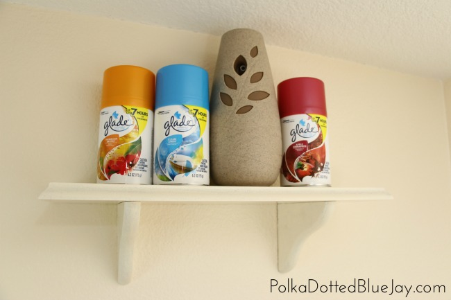 A DIY painted shelf for a Glade® Air Freshener to help keep your home fresh and inviting for you and your guests. #CompleteWithGlade #ad