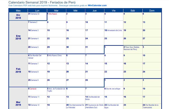 Calendario semanal 2019 PDF en Horizontal