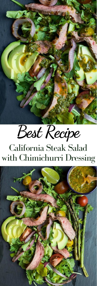 California Steak Salad with Chimichurri Dressing #vegan #recipevegetarian
