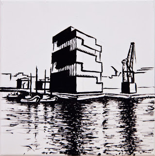 Graphic Eilandje, test painting of the MAS Antwerpen
