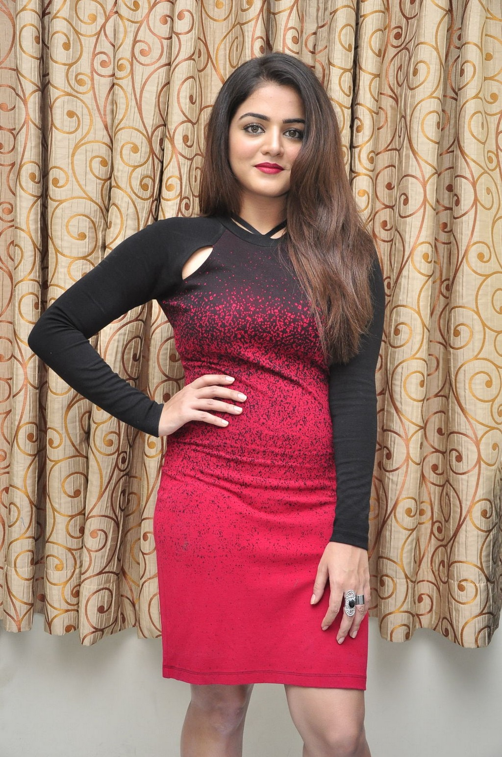 Glamours Tollywood Actress Wamiqa Gabbi Hot Stills In Red Dress
