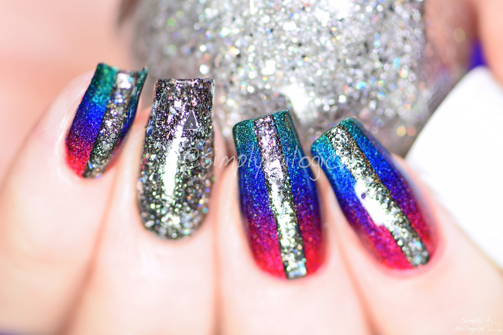 Simply Nailogical: Rainbow holo edgy gradient with one-coat holos?!