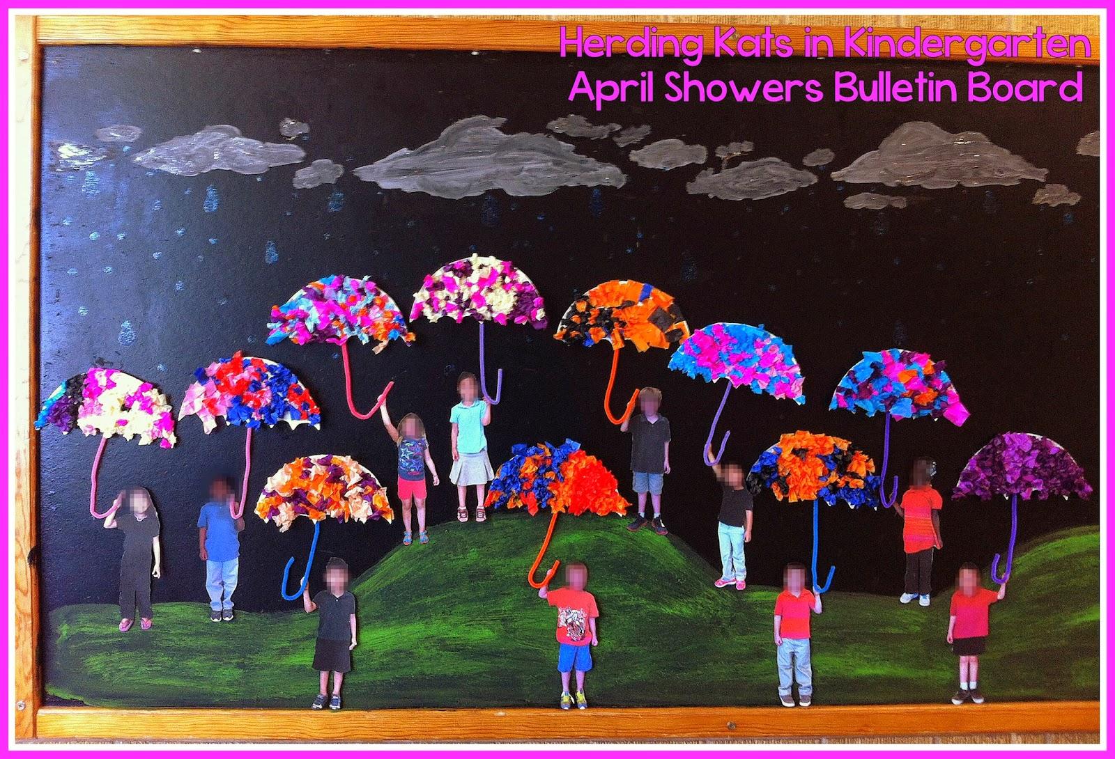 Herding Kats In Kindergarten April Showers Bulletin Board