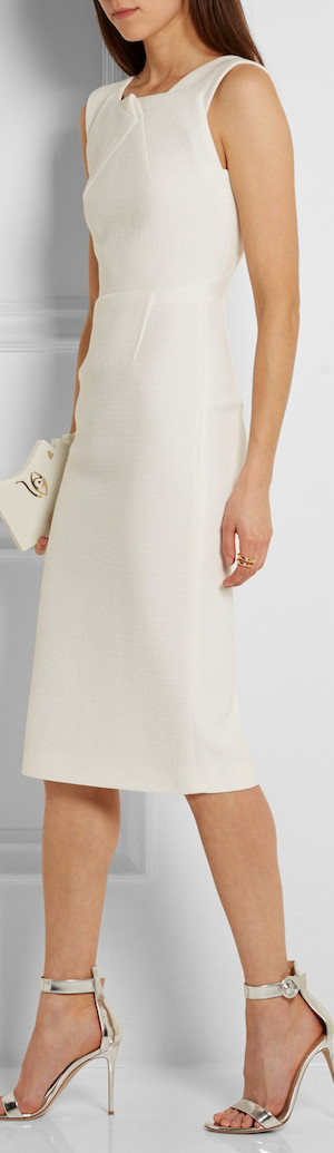 ROLAND MOURET Folded Textured-Crepe Dress
