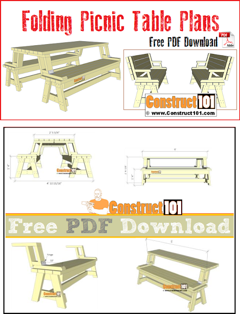 Folding picnic table can be built in one weekend, free plans.