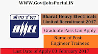 Bharat Heavy Electricals Limited Recruitment 2017-50 Engineer Trainees
