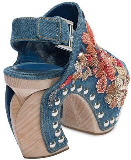 FLOWER VINTAGE DENIM EMBROIDERED CLOG