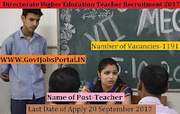 Directorate Higher Education Teacher Recruitment 2017-1191 Teacher Posts