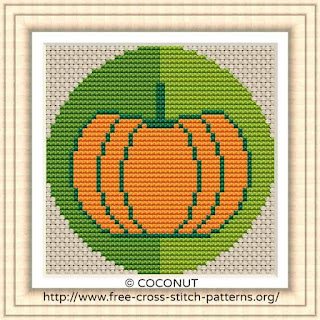 PUMPKIN VEGETABLE ICON, FREE AND EASY PRINTABLE CROSS STITCH PATTERN